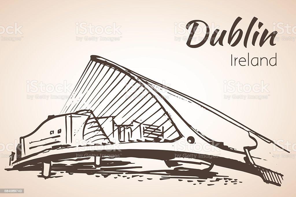 Samuel Beckett Bridge, Dublin, Ireland. vector art illustration