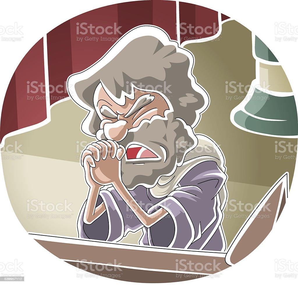 Samuel's prayer vector art illustration