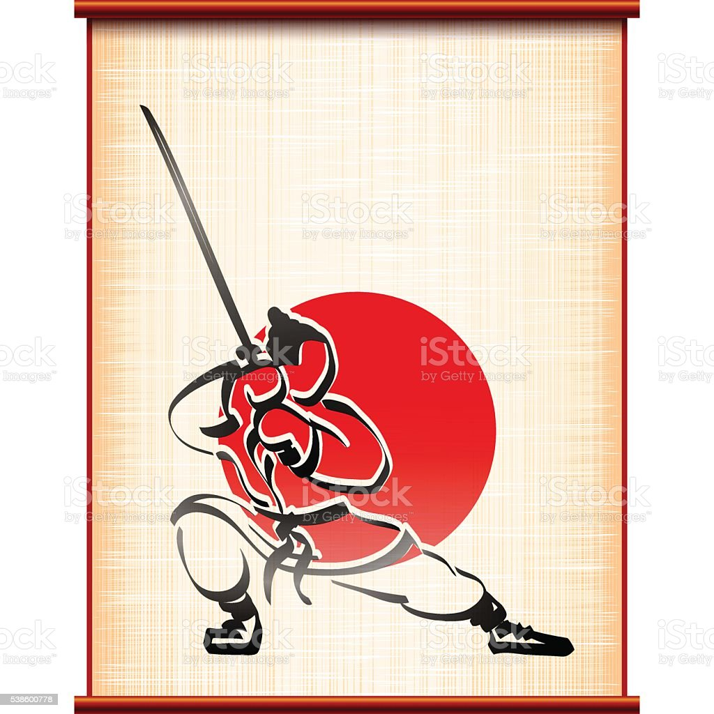 Samurai background parchment katana fighting stance ink silhouette vector art illustration
