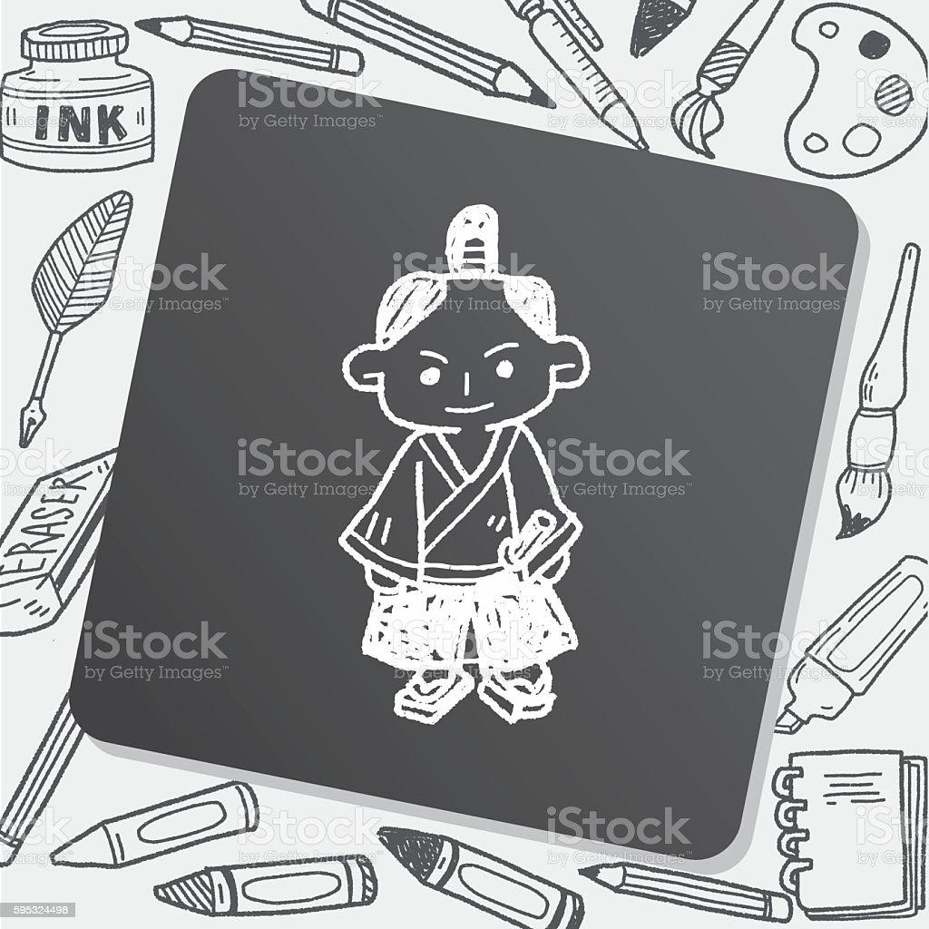 samurai doodle vector art illustration