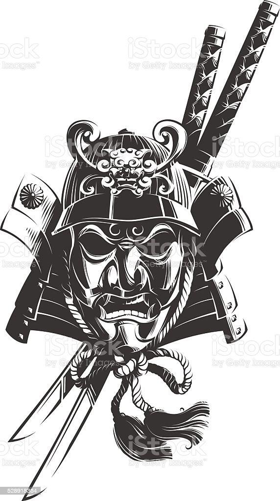 Samurai Mask vector art illustration