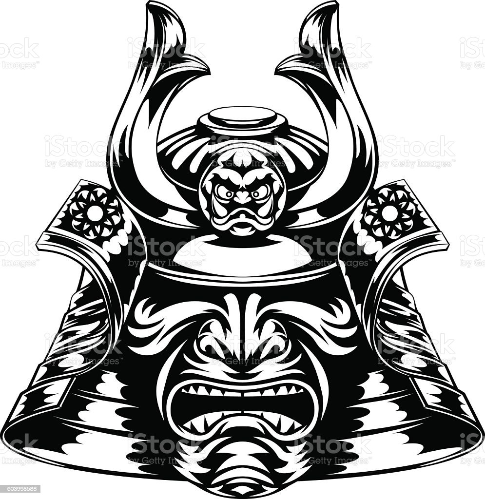 Samurai Mask vector art illustration