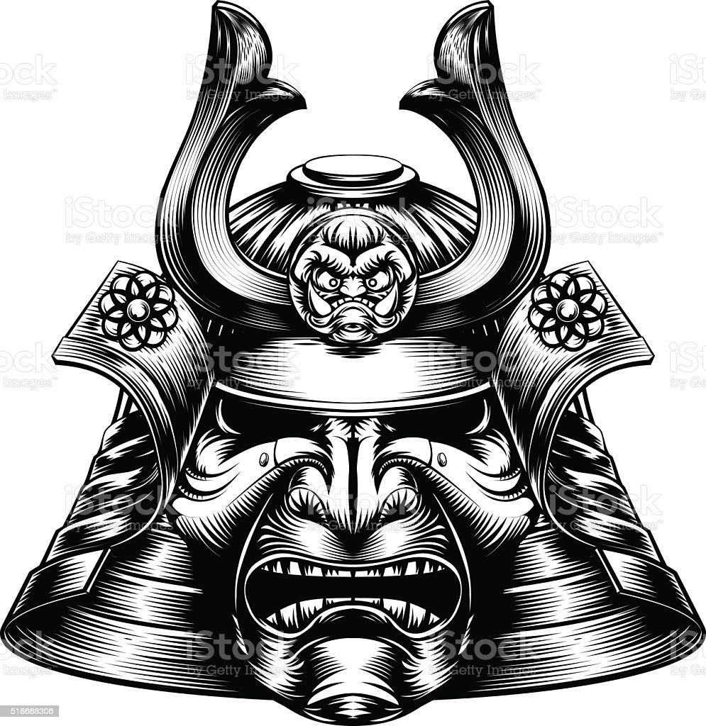 Samurai Mask Woodcut Style vector art illustration