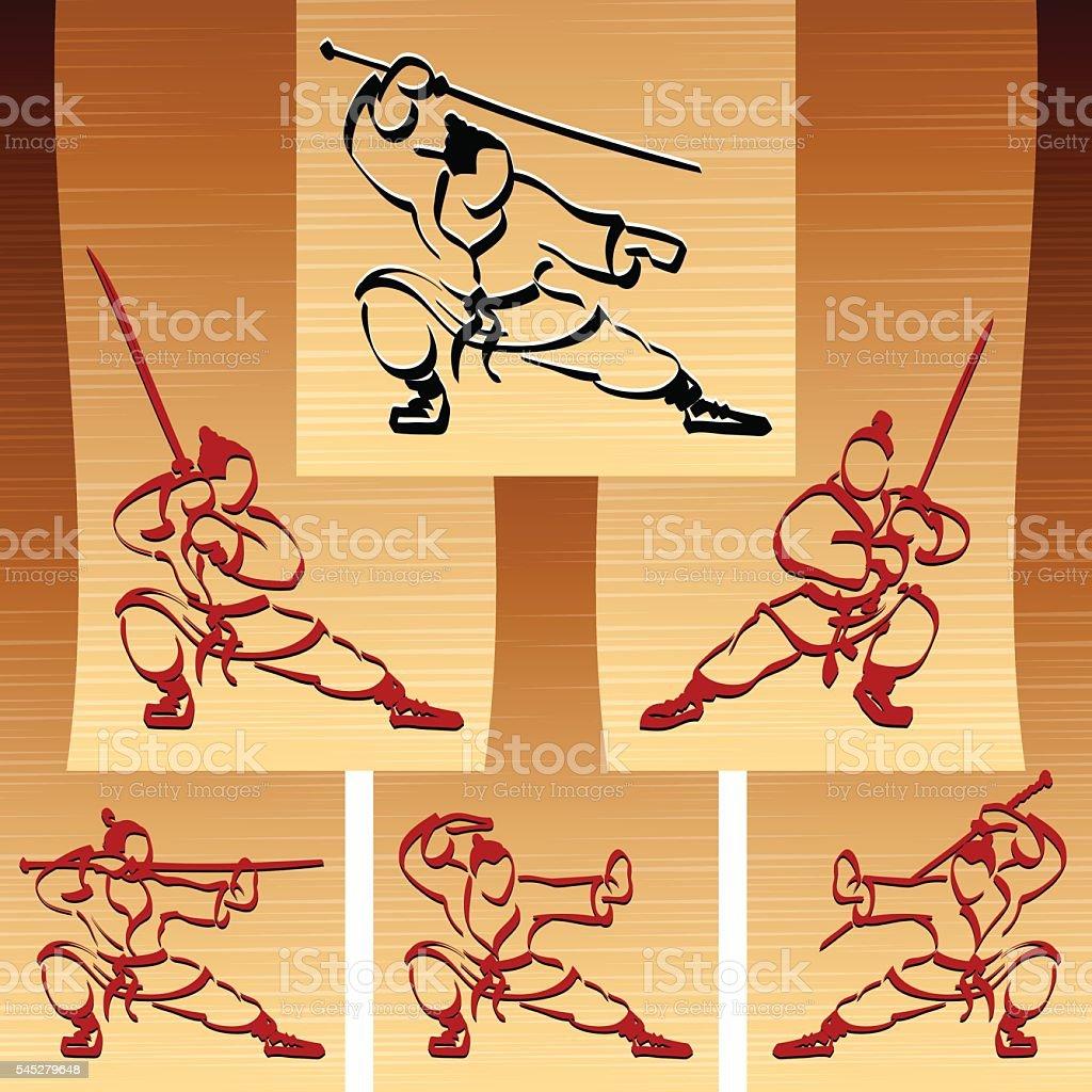 Samurai Ninja Karate Katana Sport Ink Set People Silhouette vector art illustration