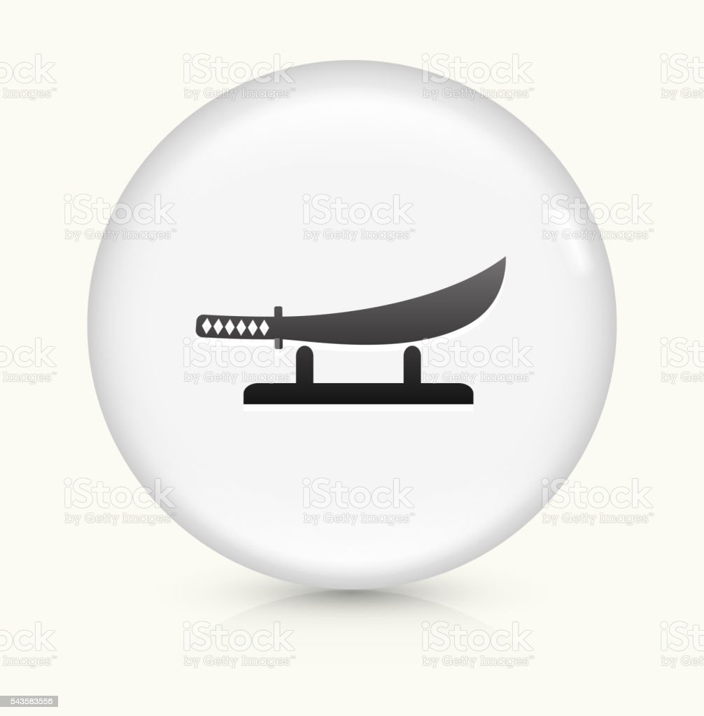 Samurai Sword icon on white round vector button vector art illustration