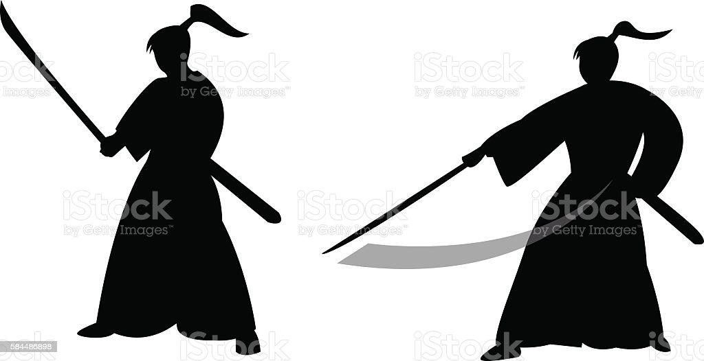 Samurai warrior in silhouette style vector art illustration