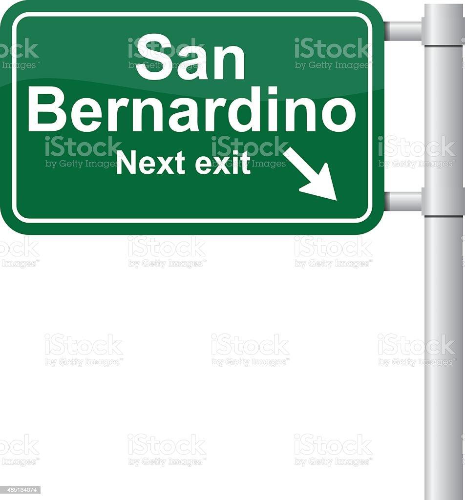 San Bernardino next exit green signal vector vector art illustration