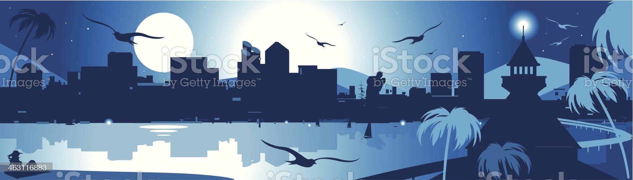 San Diego Bay royalty-free stock vector art