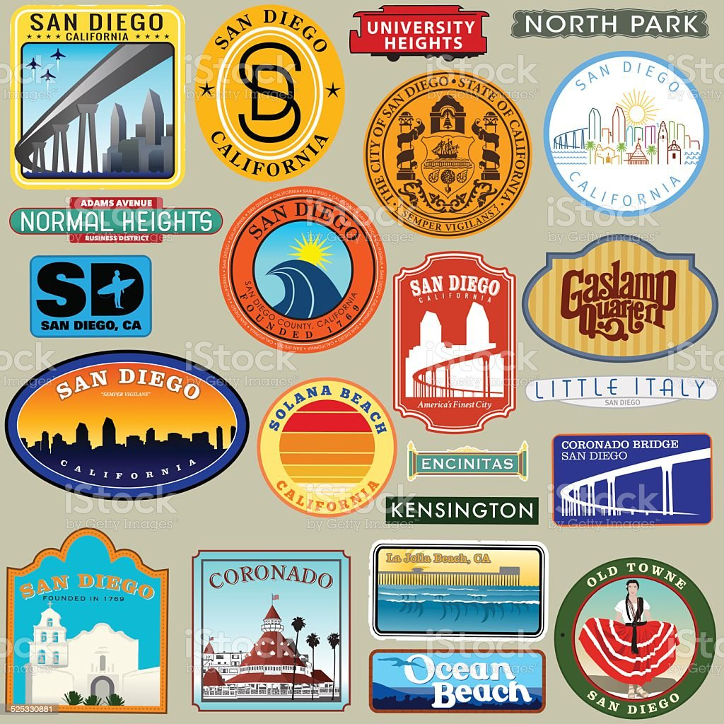 San Diego Diego Retro Decal Group vector art illustration