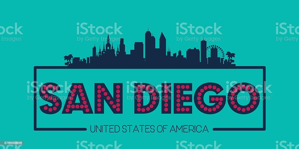 San Diego skyline silhouette poster vector vector art illustration