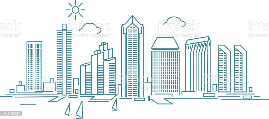San Diego Skyline vector art illustration