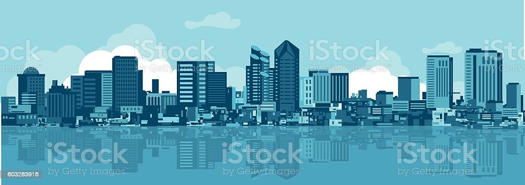 San Diego Skyline vector art illustration