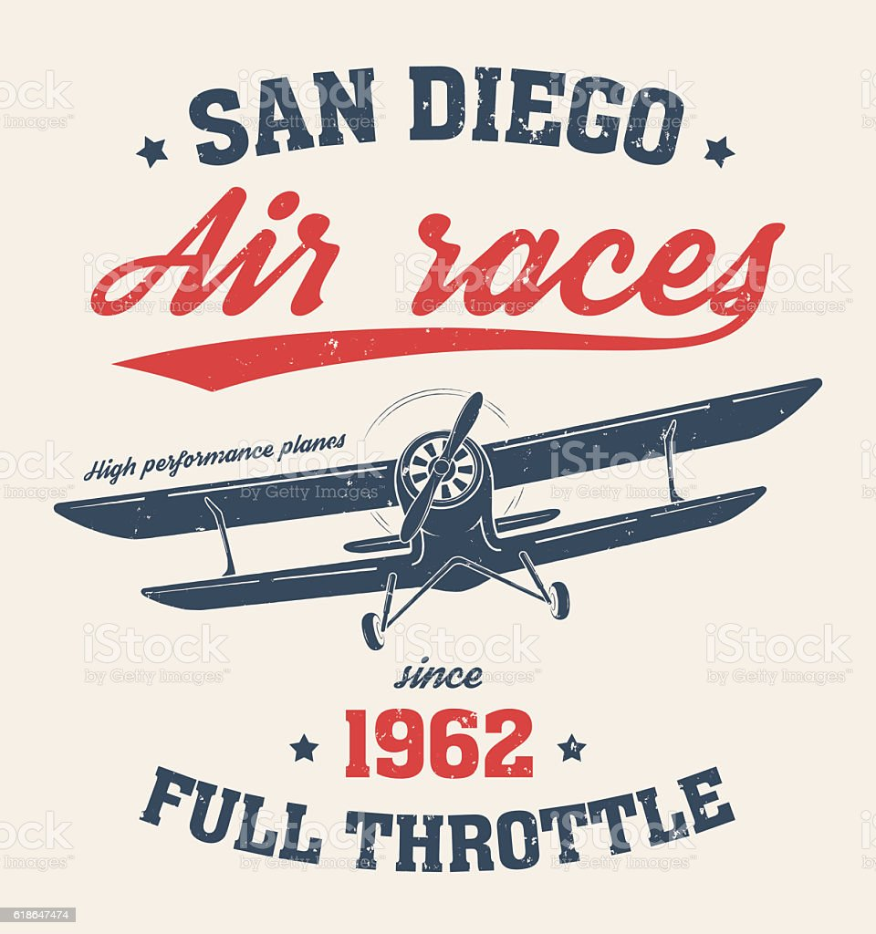 Shirt design san diego - San Diego T Shirt Design Printl With Old Airplane Royalty Free Stock Vector