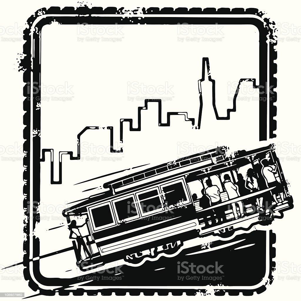 San Franciscan Stamp vector art illustration
