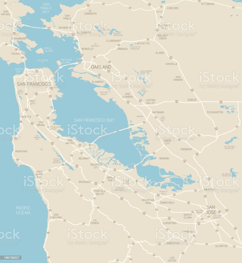 San Francisco Bay Area Map vector art illustration