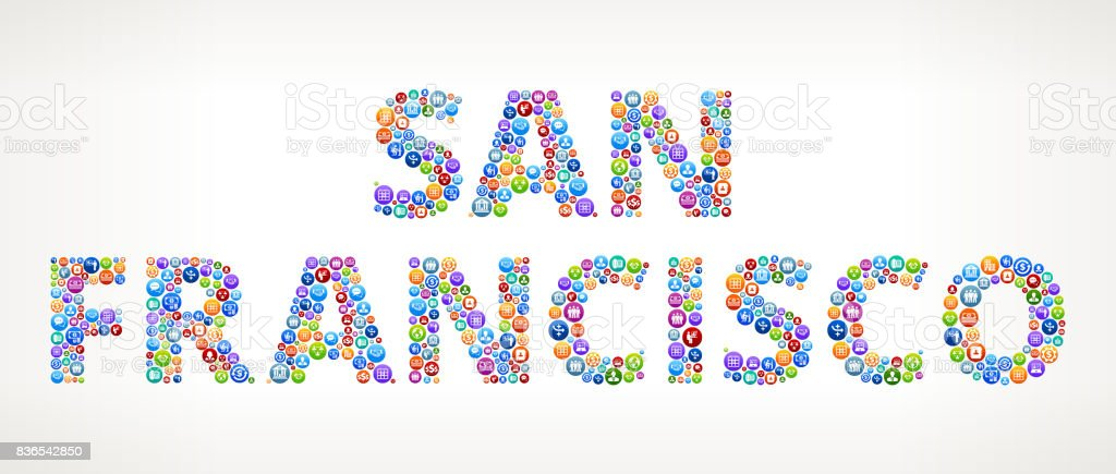 San Francisco Business and Finance Vector Buttons vector art illustration
