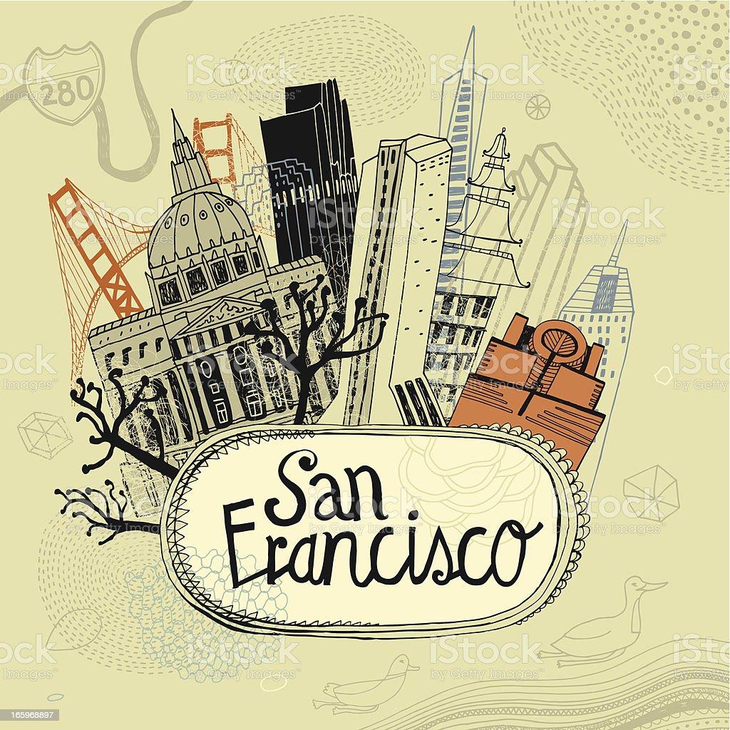 San Francisco, California in USA vector art illustration