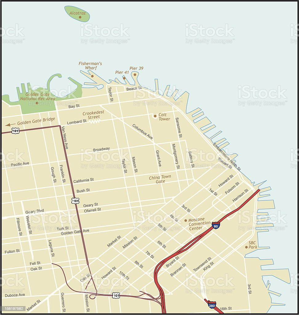 San Francisco California Map vector art illustration