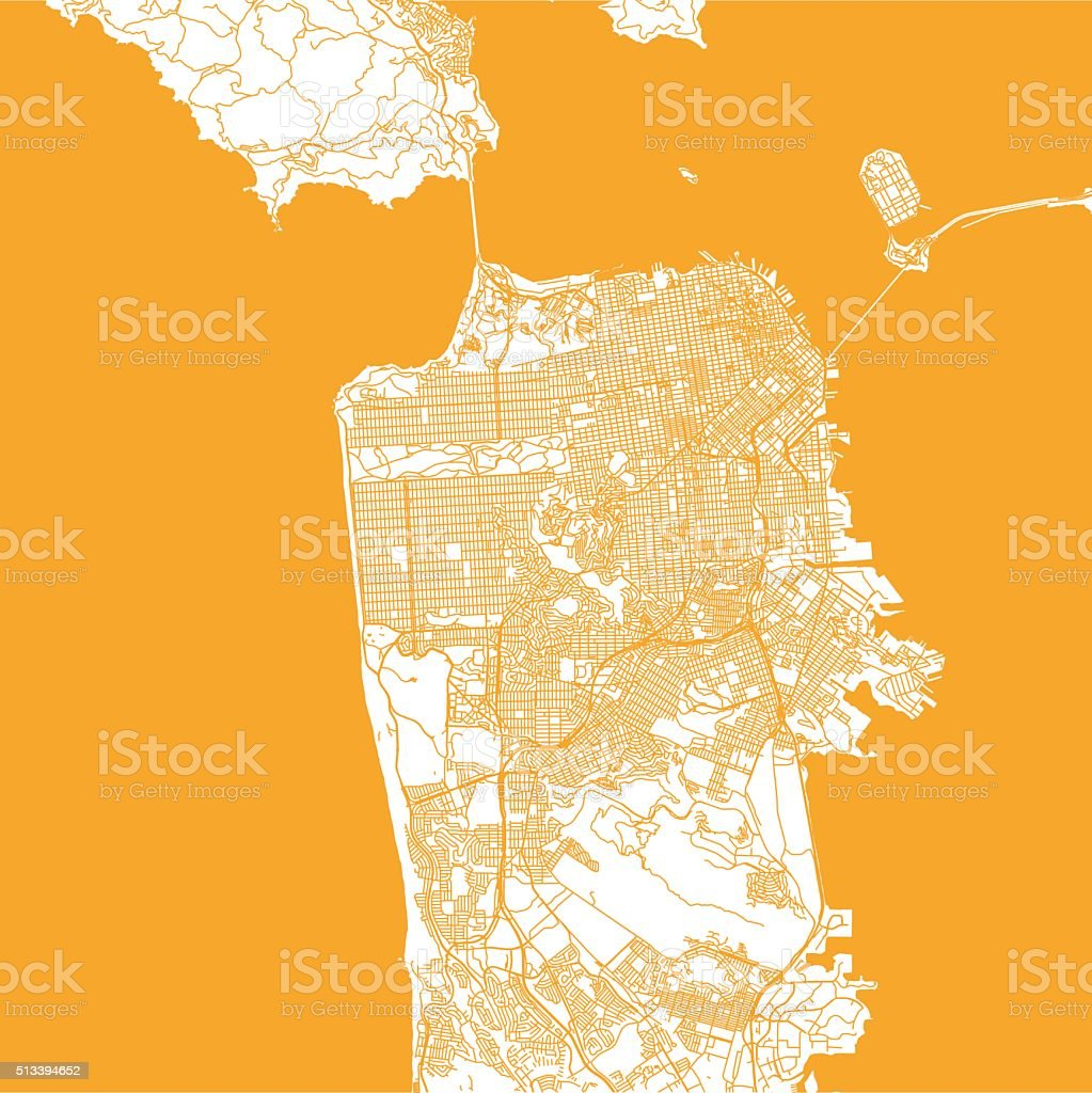 San Francisco city map vector art illustration