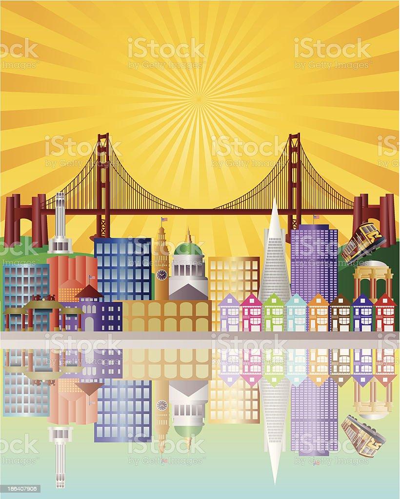 San Francisco City Skyline at Sunrise Vector Illustration vector art illustration
