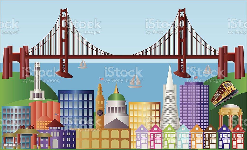 San Francisco City Skyline Panorama Vector Illustration royalty-free stock vector art