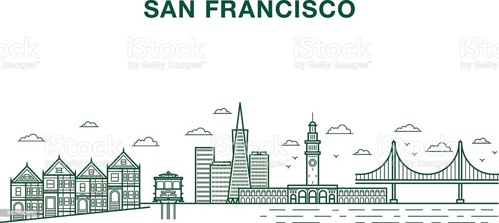 San francisco city vector art illustration