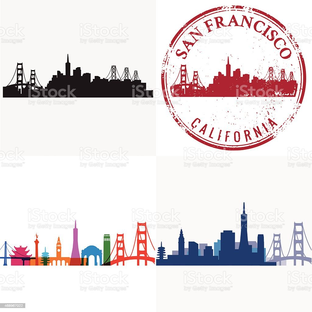 San Francisco Cityscape Series vector art illustration