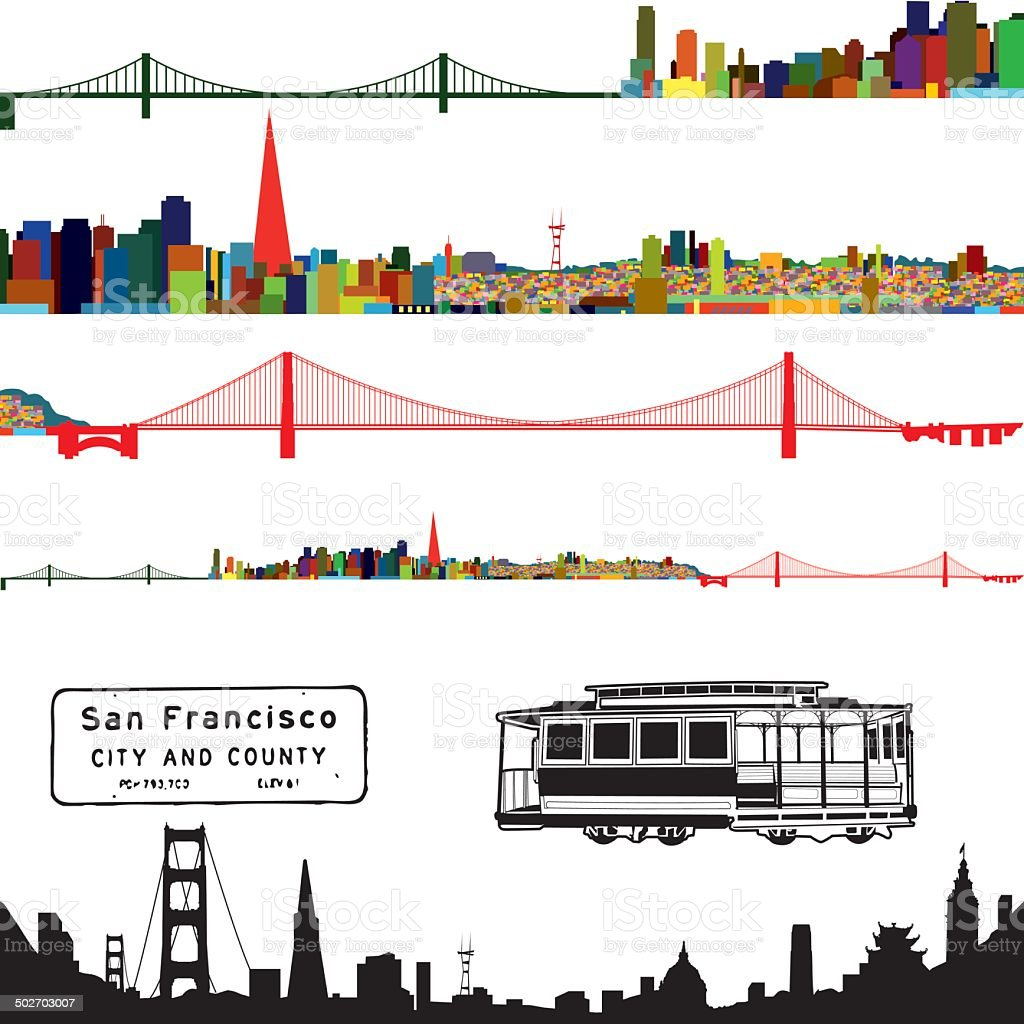 San Francisco Color Cityscape vector art illustration