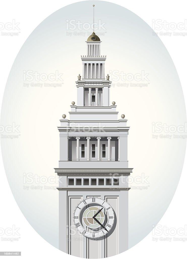 San Francisco Ferry Building tower vector art illustration