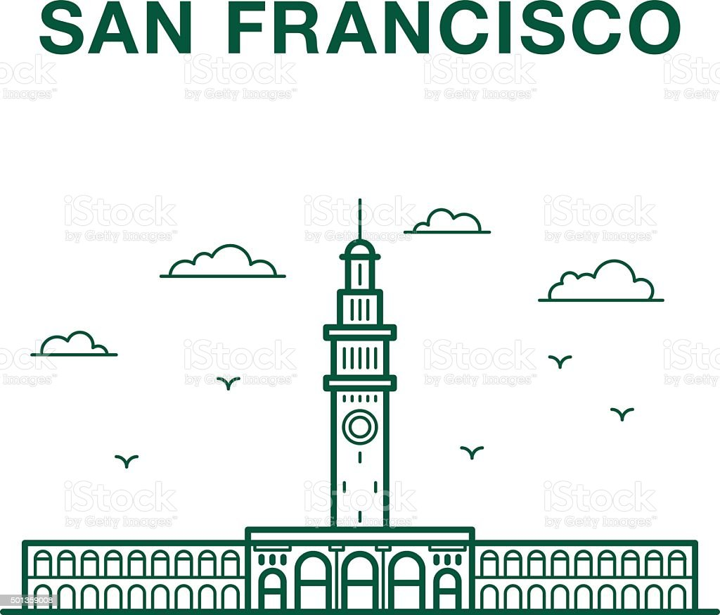 San Francisco Ferry Building vector art illustration