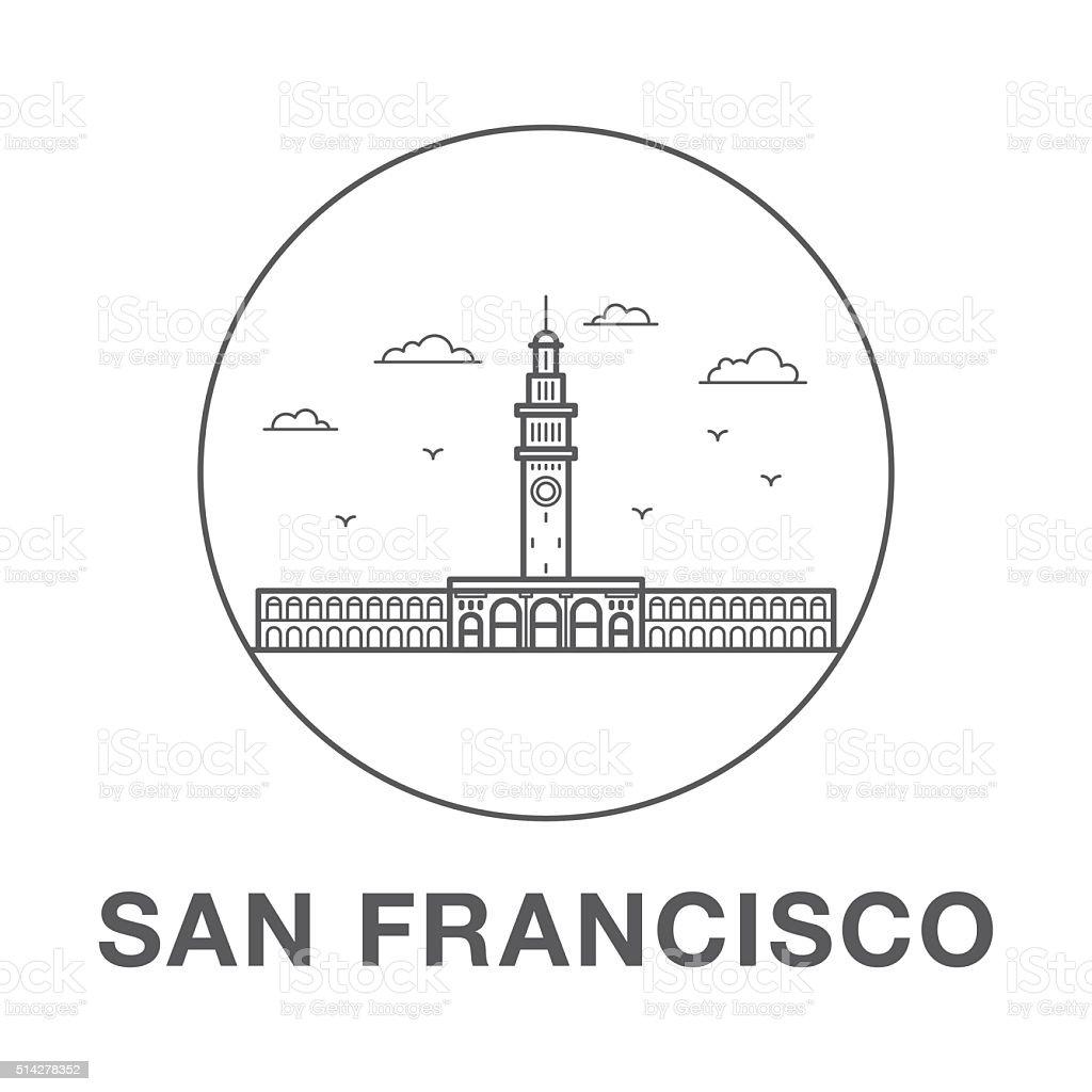 San Francisco Ferry Building. vector art illustration