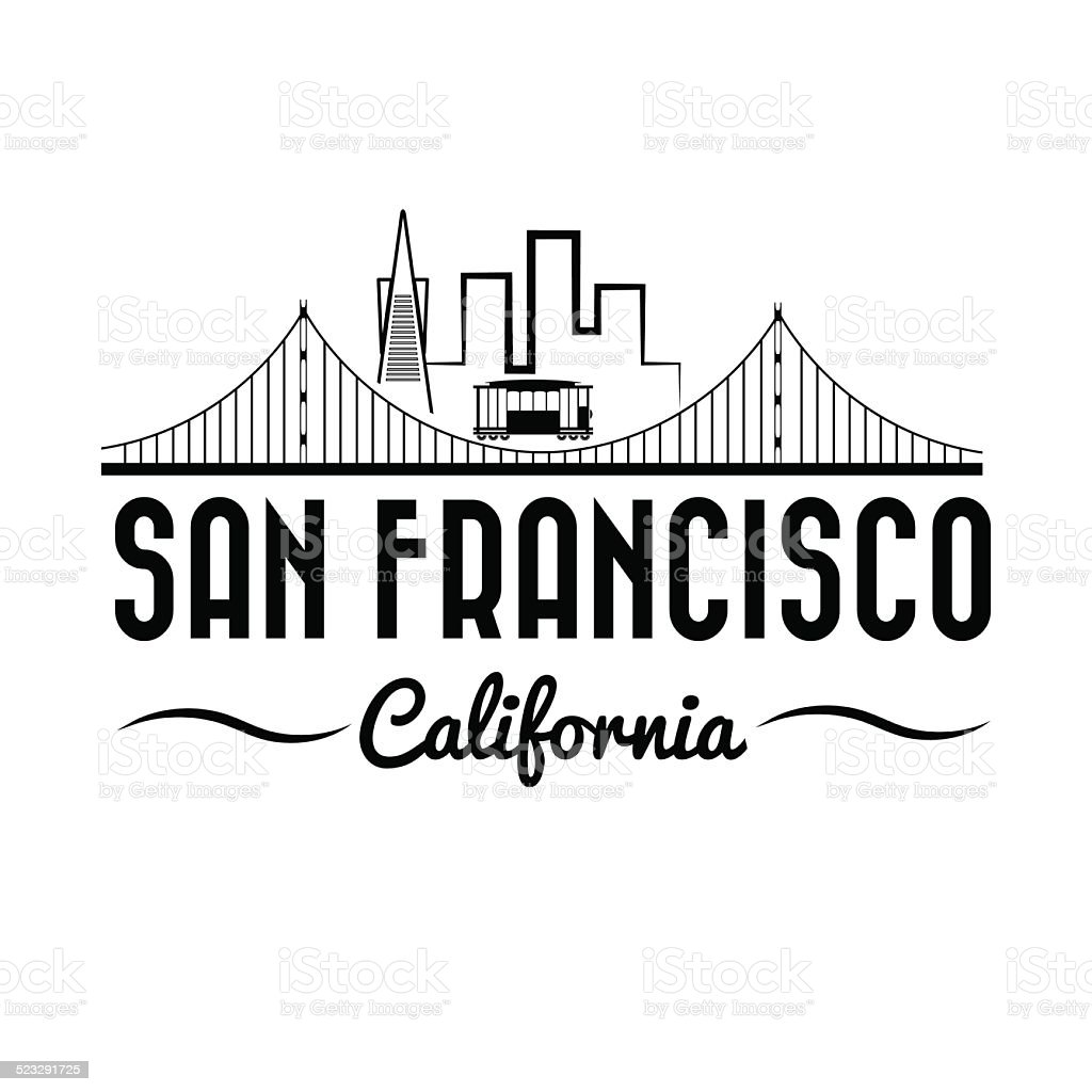 San Francisco Golden gate bridge and tram vector art illustration