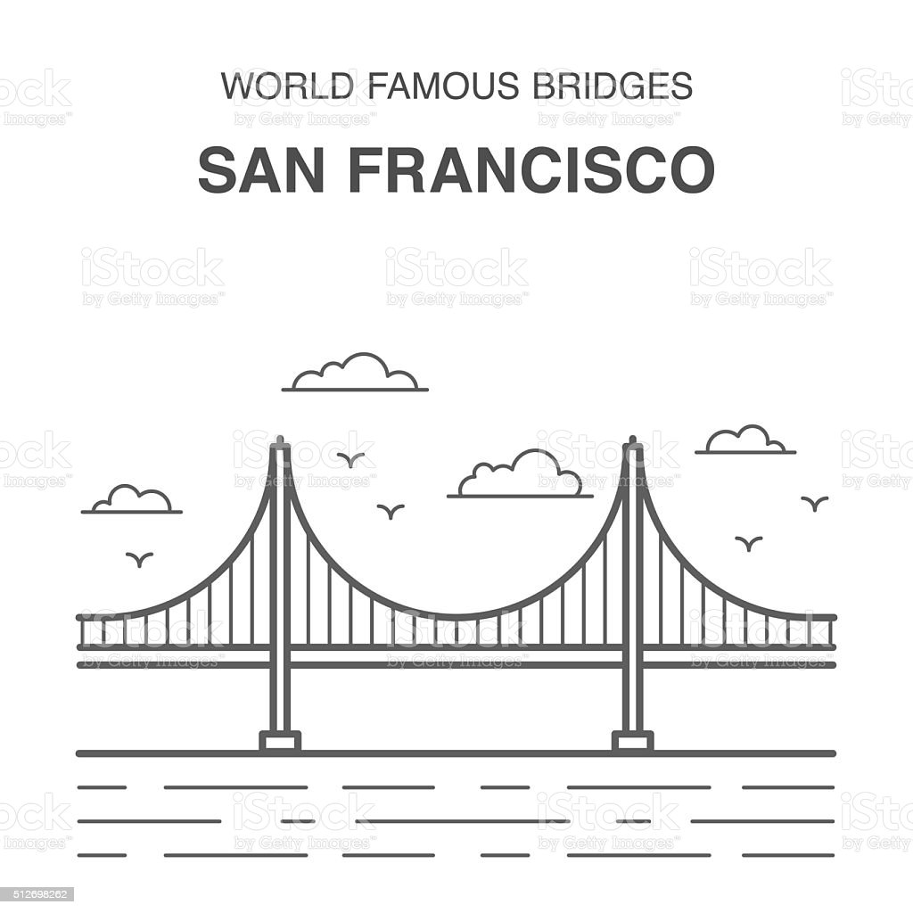 San Francisco Golden Gate Bridge. vector art illustration