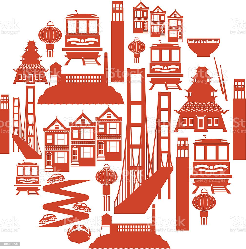 San Francisco Icon Montage vector art illustration