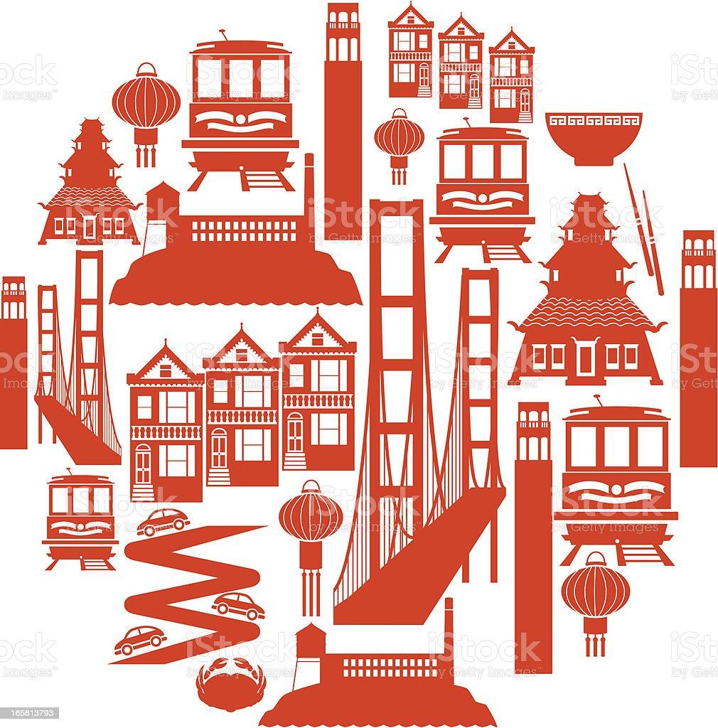 San Francisco Icon Montage vector art illustration