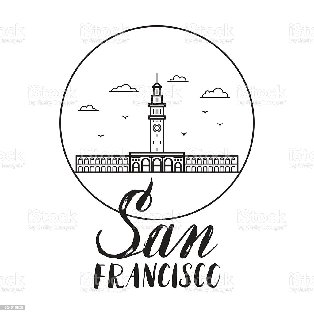 San Francisco illustration with modern lettering and ferry build vector art illustration