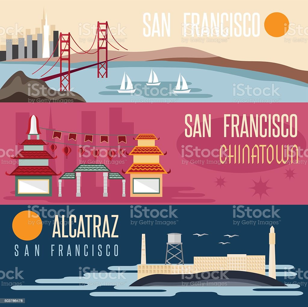 San Francisco landmarks horizontal flat design vector banners vector art illustration