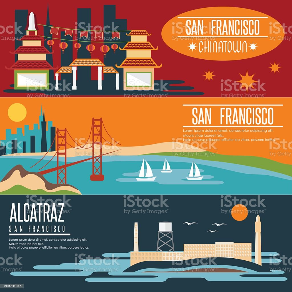 San Francisco landmarks horizontal flat design vector banners vector art illustration