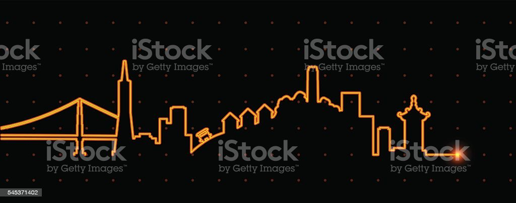 San Francisco Light Streak Profile vector art illustration