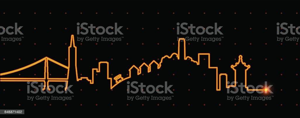 San Francisco Light Streak Profile vector art illustration