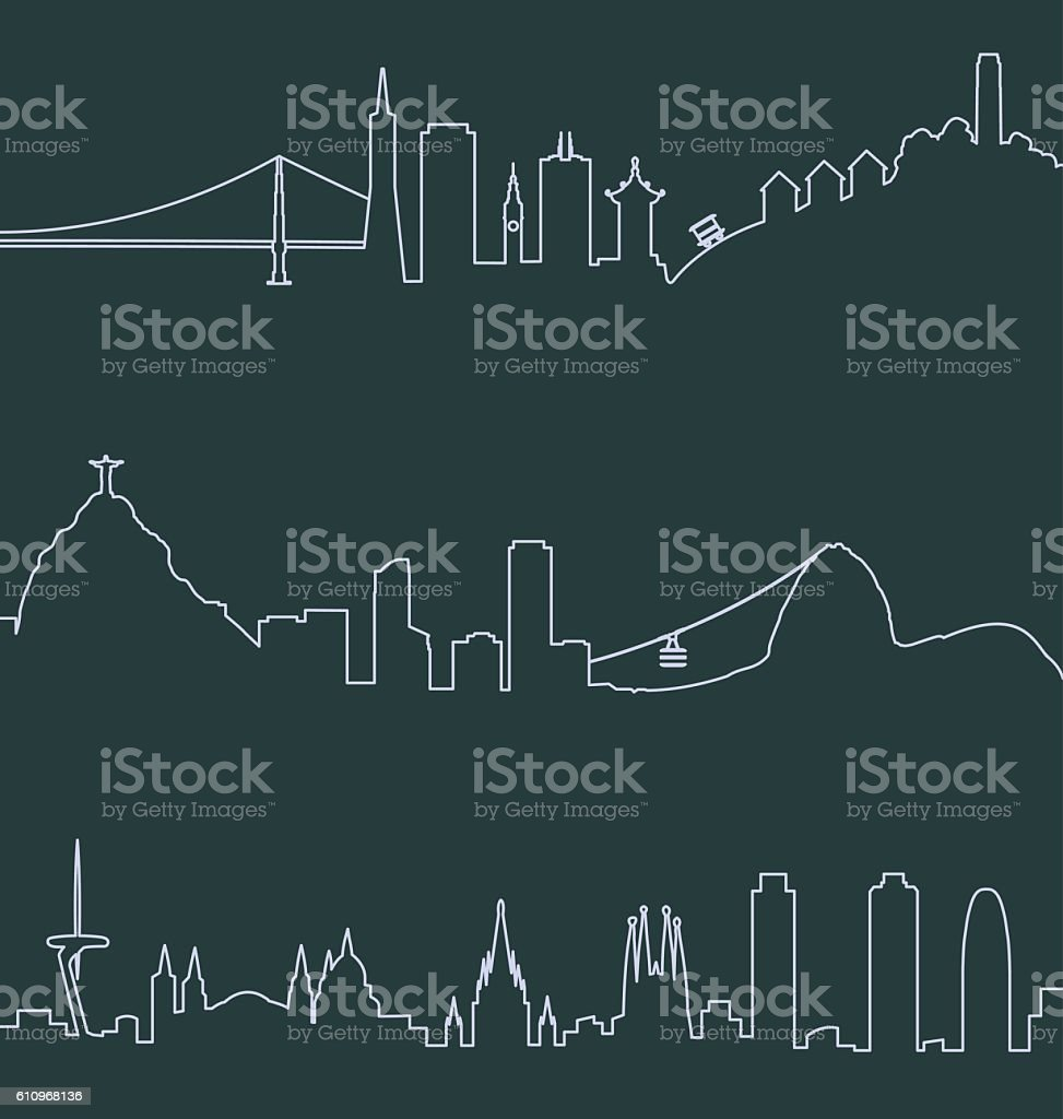 San Francisco, Rio de Janeiro and Barcelona Skylines vector art illustration