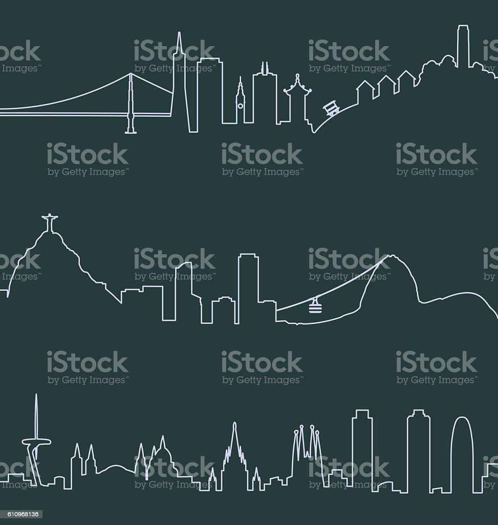 San Francisco, Rio de Janeiro and Barcelona Skylines vector art illustration