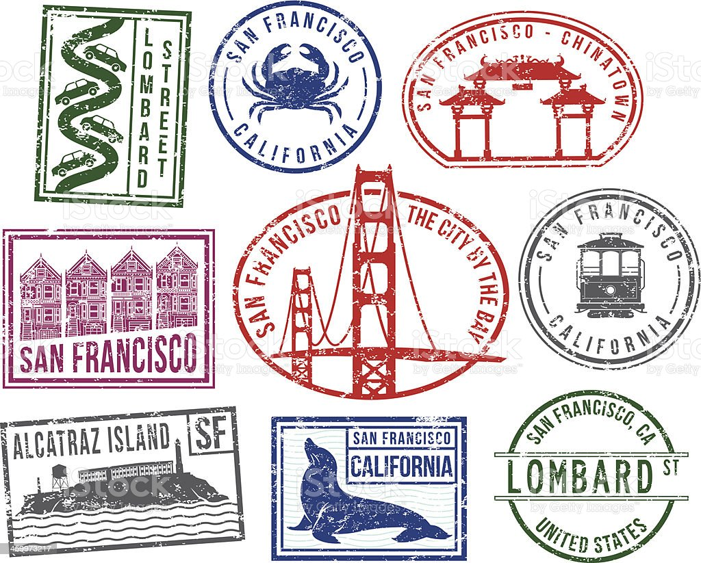 San Francisco rubber stamps vector art illustration