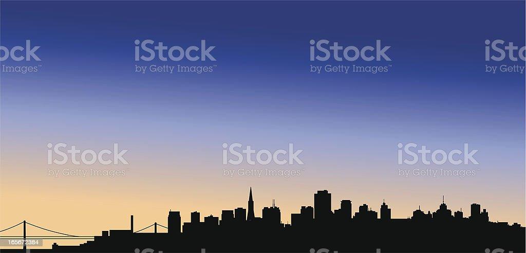 San Francisco Skyline at dusk royalty-free stock vector art