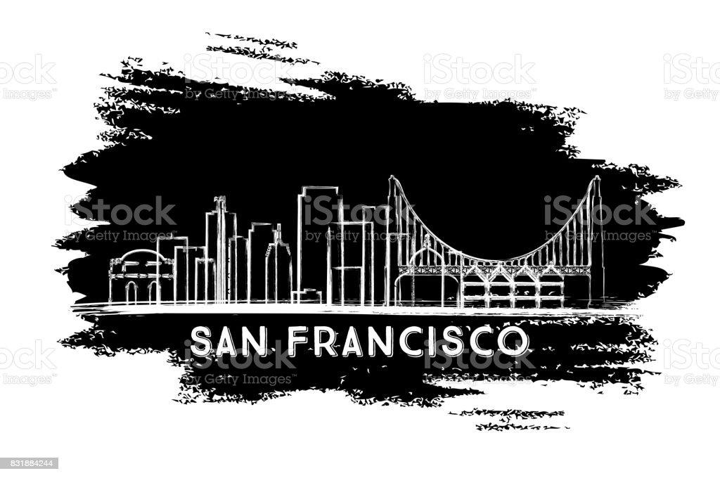 San Francisco Skyline Silhouette. Hand Drawn Sketch. vector art illustration