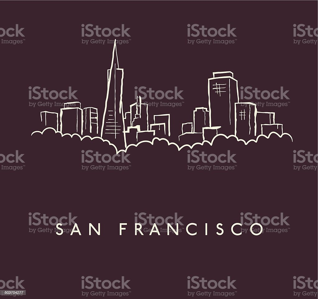 San Francisco Skyline Sketch vector art illustration