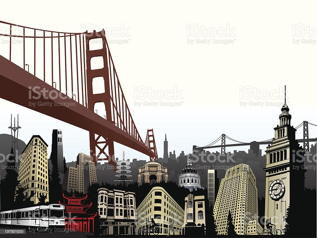 San Francisco Super Color vector art illustration