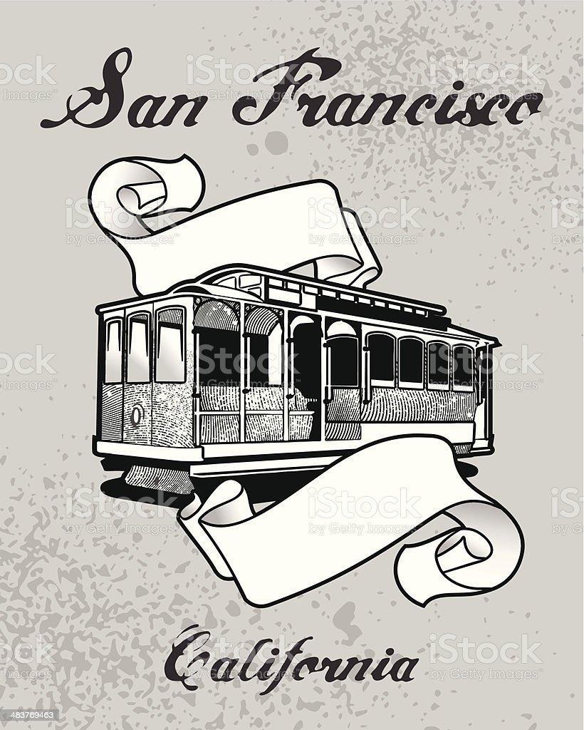 San Francisco tranvia royalty-free stock vector art