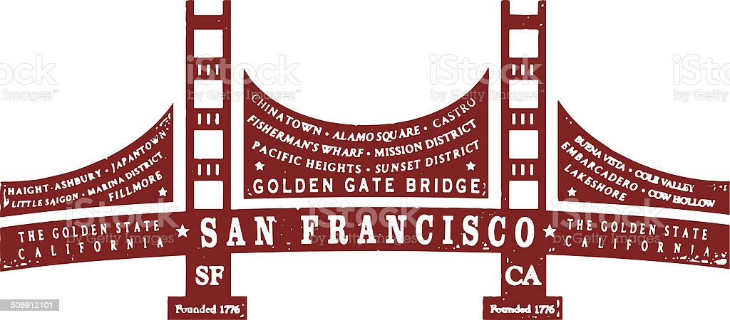 San Francisco Typo Silhouette vector art illustration
