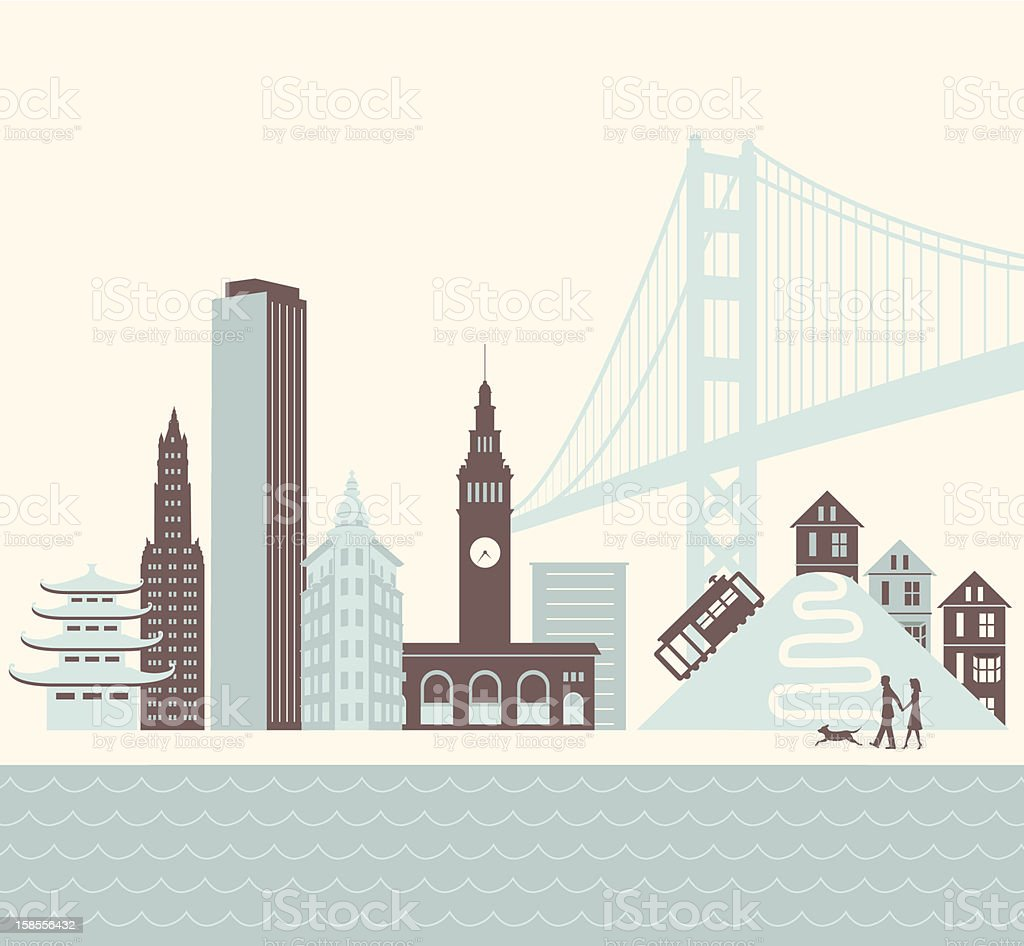 San Francisco Walk vector art illustration